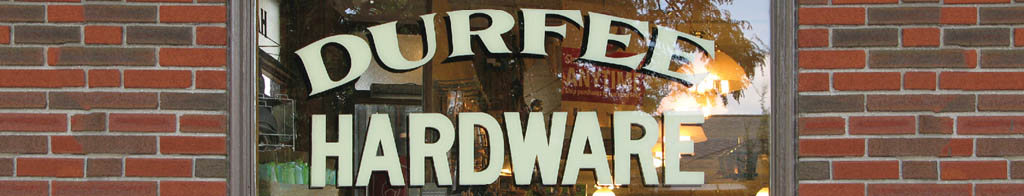 Durfee Hardware Hand Lettering Window Signage